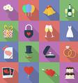 Set of wedding icons Flat style vector image