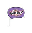 wow funny phrase on stick masquerade decorative vector image
