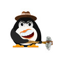 abstract evil penguin with hat and primitive vector image vector image