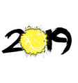 abstract number 2019 and a tennis ball from blots vector image vector image