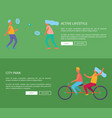 active lifestyle and city park web page design vector image vector image