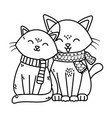 adorable cats with scarf celebration merry vector image