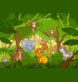 assorted cute cartoon animals in a jungle vector image