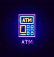 atm neon label vector image