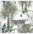 background with palm trees zebra vector image vector image