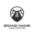 black logo yucatan pyramid with palm trees vector image vector image