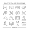 Blueprint And Engineering Linear Icons Set vector image