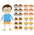 Boy and different facial expressions vector image vector image
