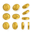 btc bitcoin gold coins set isolated on white vector image