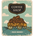 cart loaded with coffee beans vector image vector image