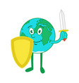 cartoon character earth with shield and sword vector image vector image