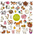 cartoon funny farm animal characters set vector image