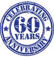 Celebrating 60 years anniversary grunge rubber sta