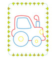 coloring book of cute blue toy tractor vector image