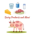 Cow - milk and meat products icons vector image vector image