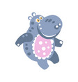cute cartoon smiling hippo character vector image vector image