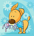 cute dressed dog hold toy in mouth standing on vector image vector image