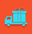 delivery gift sign whitish icon on brick vector image vector image