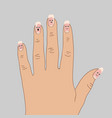 detachment of the nail plate from the nail bed vector image vector image