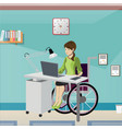 disabled young woman in wheelchair working in vector image vector image