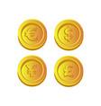 dollar euro pound and yen gold cos icon design vector image vector image
