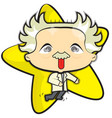 einstein with a yellow star vector image vector image