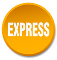 express orange round flat isolated push button vector image vector image