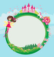 fairytale frame with castle and carriage vector image