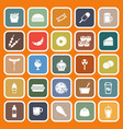 fast food flat icons on orange background vector image vector image