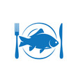 fish on plate with fork and knife logo on white vector image vector image
