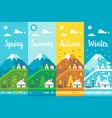 flat design 4 seasons village vector image