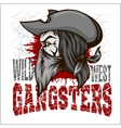 Gangster in retro scratch background vector image vector image