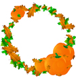 Halloween round frame with pumpkins and leaves vector image vector image
