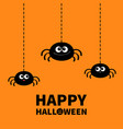 happy halloween spider set hanging dash line web vector image