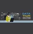 man black mask sitting at computer hacker activity vector image vector image