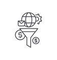 marketing funnel line icon concept marketing vector image vector image