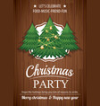 Merry christmas party and tree on wooden