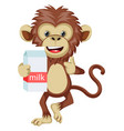 monkey with milk on white background vector image vector image