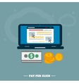 Pay per click internet advertising model when the vector image vector image