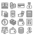 payment money and finance icons set line style vector image vector image
