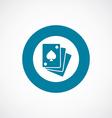 poker icon bold blue circle border vector image vector image