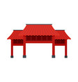 red asian arch icon flat style vector image vector image