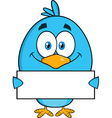 Royalty Free RF Clipart Smiling Blue Bird Cartoon vector image vector image