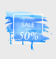 sale up to 50 percent off sign over art brush vector image vector image