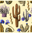 seamless pattern with cactus and flowers vector image vector image