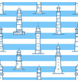 seamless pattern with different lighthouses drawn vector image vector image