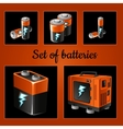 Set of batteries on a brown background vector image