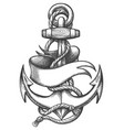 ship anchor and ribbon old school tattoo vector image vector image