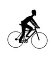 silhouette man riding cycle transport vector image vector image