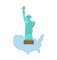 statue of liberty and map united states landmark vector image